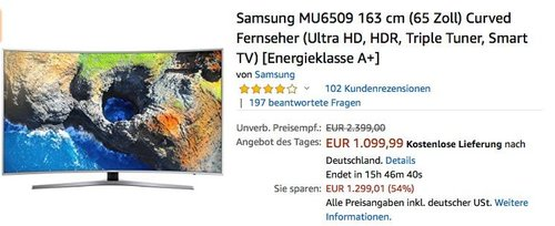 Samsung MU6509 163 cm (65 Zoll) Curved Fernseher - jetzt 33% billiger