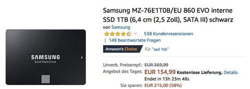 Samsung MZ-76E1T0B/EU 860 EVO 1TB interne SSD-Festplatte - jetzt 8% billiger