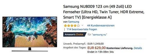 Samsung NU8009 123 cm (49 Zoll) Ultra-HD Fernseher - jetzt 14% billiger
