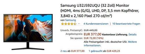 Samsung U32J592UQU (32 Zoll) UHD-Monitor - jetzt 15% billiger
