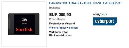 SanDisk SSD Ultra 3D 2TB interne SSD-Festplatte - jetzt 8% billiger