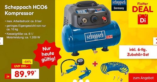 Scheppach HC06 Kompressor inkl. 6-tlg. Zubehör-Set - jetzt 35% billiger