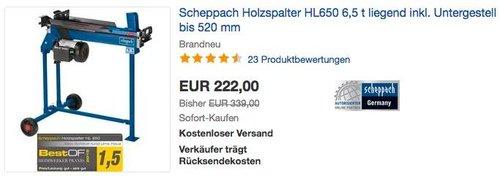 Scheppach Holzspalter HL650 liegend inkl. Untergestell, bis 520 mm Holzlänge - jetzt 7% billiger