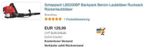 Scheppach LB5200BP Backpack Benzin-Laubbläser - jetzt 16% billiger