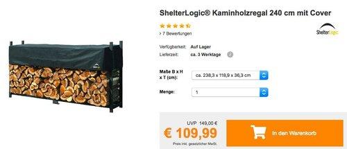 ShelterLogic® Kaminholzregal 240 cm mit Cover - jetzt 26% billiger