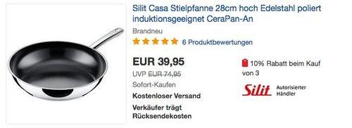Silit Casa Stielpfanne 28cm Edelstahl - jetzt 27% billiger
