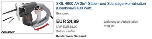 SKIL 4600 AA 2in1 Säbel- und Stichsägenkombination 400 Watt - jetzt 50% billiger