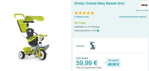 Smoby Dreirad Baby Balade in Grün - jetzt 14% billiger