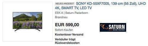 SONY KD-55XF7005 139 cm (55 Zoll) UHD 4K Fernseher - jetzt 8% billiger