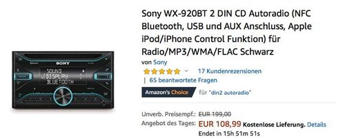 Sony WX-920BT 2 DIN CD Autoradio - jetzt 19% billiger