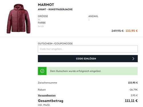 SportScheck.com extra 20 % Rabatt auf ausgewählte Jacken, Mänteln und Parkas: z.B.  Marmot Avant - Herren Kunstfaserjacke in Brick - jetzt 19% billiger
