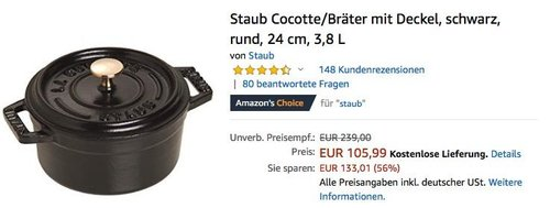 Staub Cocotte/Bräter mit Deckel, 24 cm rund, 3,8 L in Schwarz - jetzt 18% billiger