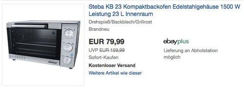 Steba KB 23 Kompaktbackofen 23 L Innenraum - jetzt 17% billiger
