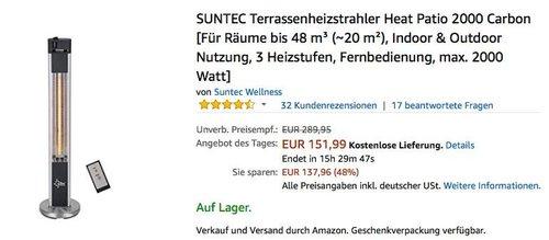 SUNTEC Terrassenheizstrahler Heat Patio 2000 Carbon - jetzt 20% billiger