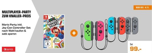Super Mario Party - Nintendo Switch inkl. NINTENDO Switch Joy-Con 2er-Set - jetzt 19% billiger