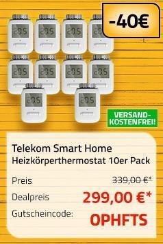 Telekom Smart Home Heizkörperthermostat 10er Pack - jetzt 12% billiger