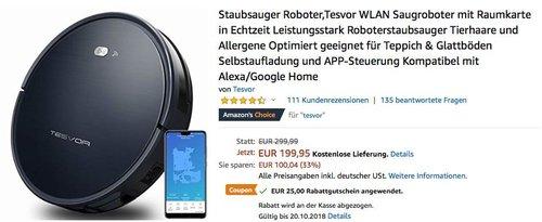 Tesvor X500 WLAN Saugroboter mit APP-Steuerung, kompatibel mit Alexa/Google Home - jetzt 13% billiger