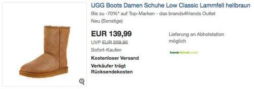 UGG Boots Damen Schuhe Low Classic Lammfell in Hellbraun - jetzt 7% billiger