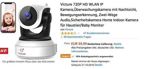 Victure 720P HD WLAN IP Überwachungskamera mit Nachtsicht - jetzt 10% billiger