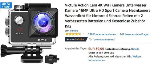 Victure Action Cam 4K 16MP Ultra HD Sport Camera - jetzt 42% billiger