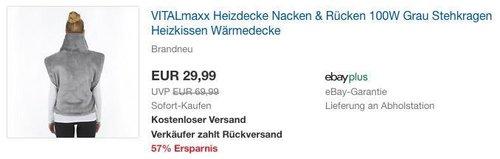 VITALmaxx elektrische Heizdecke Nacken & Rücken - jetzt 25% billiger
