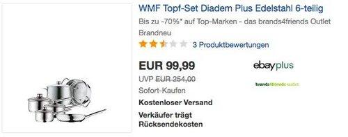 WMF Diadem Plus Topfset 6-teilig mit Glasdeckel + Dämpfeinsatz - jetzt 27% billiger