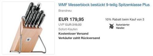 WMF Messerblock bestückt 9-teilig Spitzenklasse Plus - jetzt 21% billiger