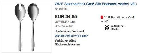 WMF Salatbesteck 2-teilig Silk Cromargan Edelstahl - jetzt 24% billiger