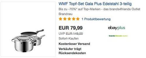 WMF Topf-Set Gala Plus Edelstahl 3-teilig - jetzt 11% billiger