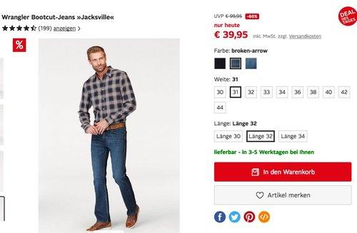 "Wrangler Herren Bootcut-Jeans ""Jacksville"" - jetzt 12% billiger"