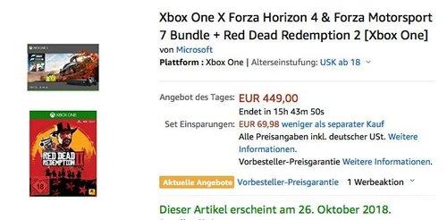 Xbox One X Forza Horizon 4 & Forza Motorsport 7 Bundle + Red Dead Redemption 2 - jetzt 12% billiger