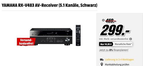 YAMAHA RX-V483 5.1 AV-Receiver in Schwarz - jetzt 23% billiger