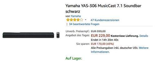 Yamaha YAS-306 MusicCast 7.1 Soundbar in Schwarz - jetzt 22% billiger