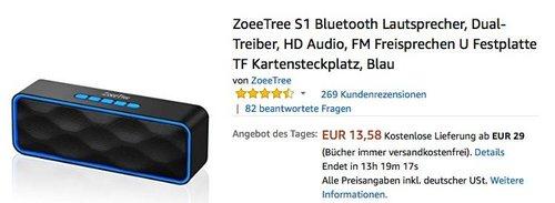 ZoeeTree S1 Bluetooth Lautsprecher in Blau - jetzt 46% billiger
