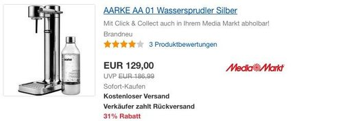 AARKE AA 01 Wassersprudler Silber - jetzt 35% billiger