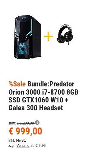 Acer Predator Orion 3000 (i7-8700, 8GB, 1,128 TB SATA+SSD, GTX1060, W10) Gaming-PC inkl. Galea 300 Gaming-Headset - jetzt 14% billiger