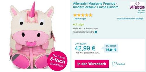 """Affenzahn Magische Freunde - Kinderrucksack """"Emma Einhorn"""" - jetzt 14% billiger"""