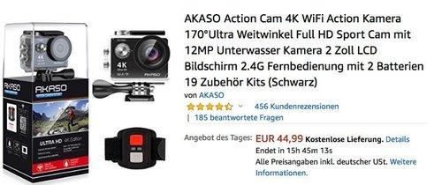 Akaso EK7000 4K Actioncam mit 170°Ultra Weitwinkellinse - jetzt 17% billiger