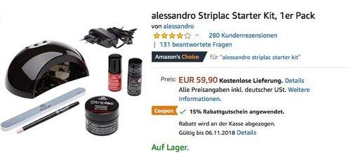alessandro Striplac Starter Kit für Nagellack-Maniküre - jetzt 27% billiger