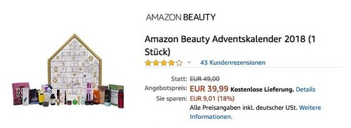 Amazon Beauty Adventskalender 2018 - jetzt 18% billiger