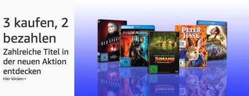 Amazon Filme und TV-Serien - Aktion (DVD & Blu-ray): 3 kaufen, 2 zahlen - jetzt 32% billiger