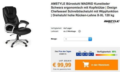 AMSTYLE Bürostuhl MADRID Kunstleder Schwarz - jetzt 16% billiger