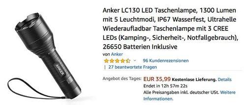 Anker LC130 LED Taschenlampe 1300 Lumen mit 5 Leuchtmodi - jetzt 20% billiger