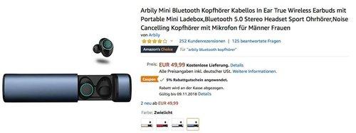 Arbily Mini Bluetooth Kopfhörer mit tragbarer Ladebox - jetzt 5% billiger