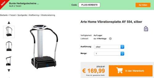 Arte Home Vibrationsplatte AY 554 in Silber oder Schwarz - jetzt 18% billiger