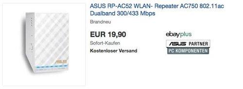 ASUS RP-AC52 WLAN-Repeater mit Geschwindigkeiten bis zu 433 Mb/s (2,4 GHz) und 300 Mb/s (5 GHz) - jetzt 33% billiger