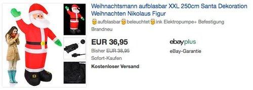 Aufblasbarer XXL 250 cm Weihnachtsmann mit Beleuchtung - jetzt 5% billiger
