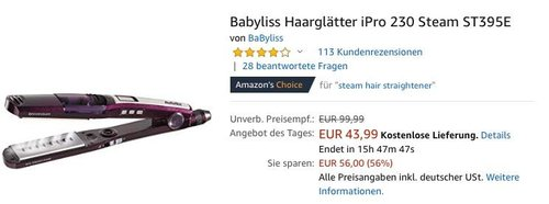 Babyliss Haarglätter iPro 230 Steam ST395E - jetzt 25% billiger
