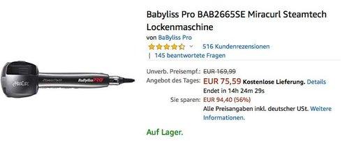 Babyliss Pro BAB2665SE Miracurl Steamtech Lockenmaschine - jetzt 17% billiger