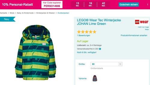 Babymarkt.de - 10% Rabatt auf fast alles am 11.11.18: z.B. LEGO® Wear Tec Jungen-Winterjacke JOHAN Lime Green oder Dark Navy - jetzt 16% billiger